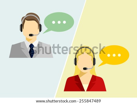 Vector call center avatar flat icons - stock vector