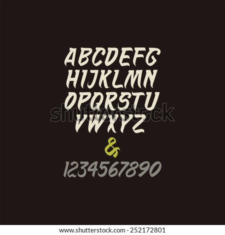 Vector calligraphic alphabet in indian style. - stock vector