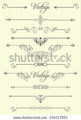 Vector calligraphic design elements and page decor - stock vector