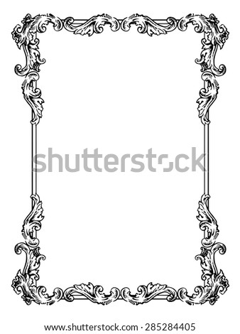 Vector calligraphic frame in antique style - stock vector