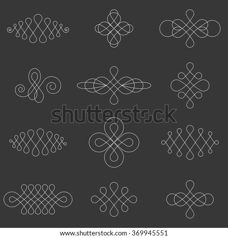 Vector calligraphic lines dividers ,elements and page decoration, symmetry design - stock vector