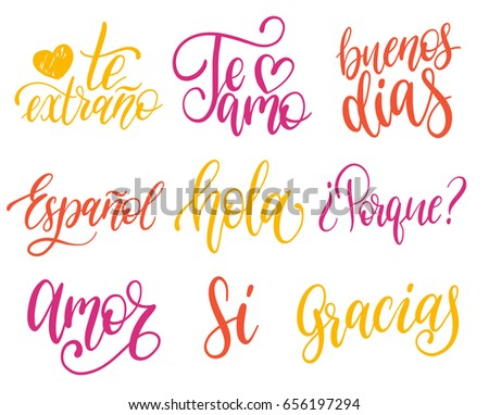 Vectorigraphic Set Of Spanish Translation Of Thank You Good Day Why I