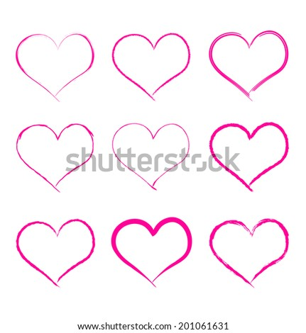 Rating Flat Hearts Icons Vector Illustration Stock Vector