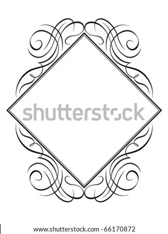 Vector calligraphy frame rhomb diamond pattern - stock vector