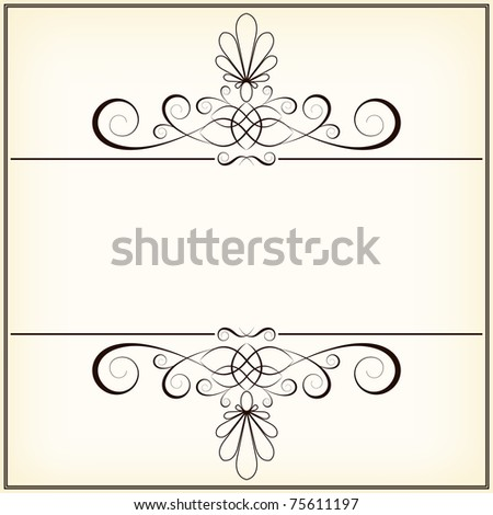 vector calligraphy vintage floral  background with decorative flowers for design - stock vector