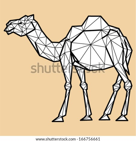 Vector - camel geometric (illustration of a many triangles) - stock vector
