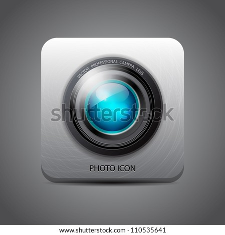 Vector camera application icon - stock vector