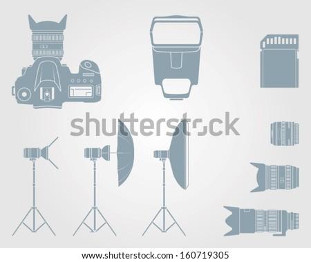 vector camera icon and camera accessories icons - stock vector