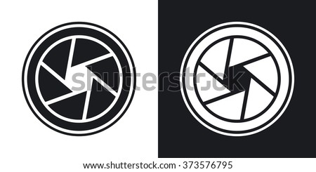 Vector camera lens icon. Two-tone version on black and white background - stock vector