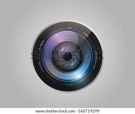 vector camera photo lens with shutter on white background - stock vector