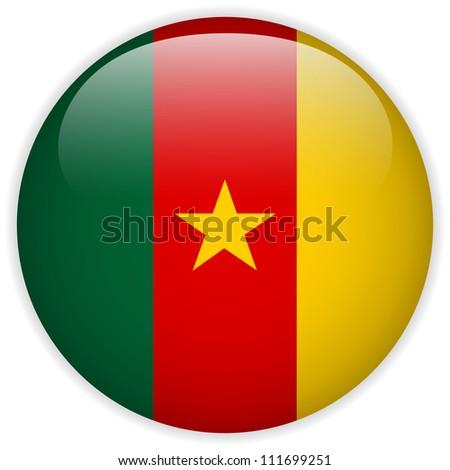 Vector - Cameroon Flag Glossy Button - stock vector