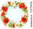 Vector camomile and poppy frame in the shape of circle - stock vector