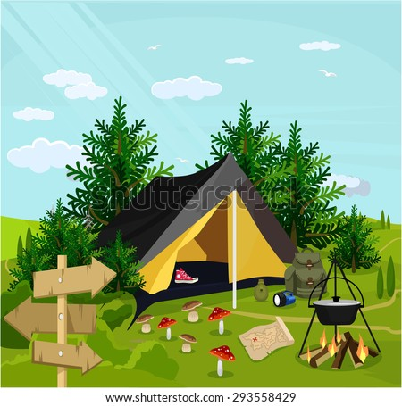 Vector camp flat cartoon illustration - stock vector