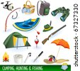 Vector camping, hunting and fishing equipment symbols and icons - stock vector