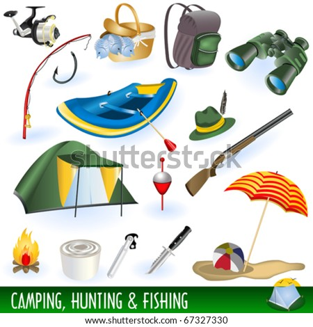 Vector camping, hunting and fishing equipment symbols and icons