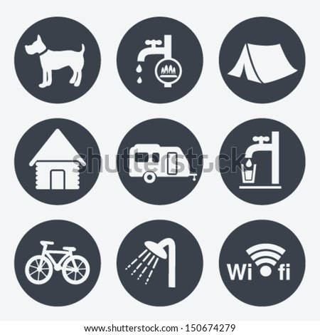 Vector camping icons - circular buttons, set 1 - stock vector