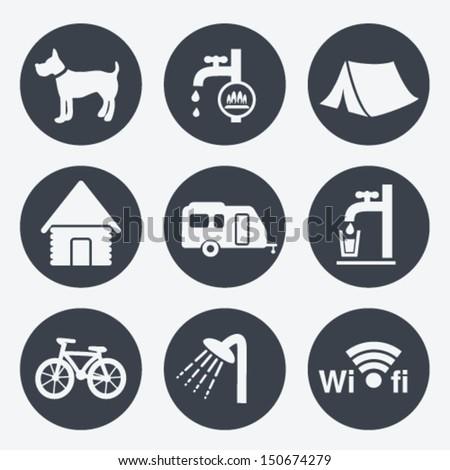 Vector camping icons - circular buttons, set 1 - stock vector