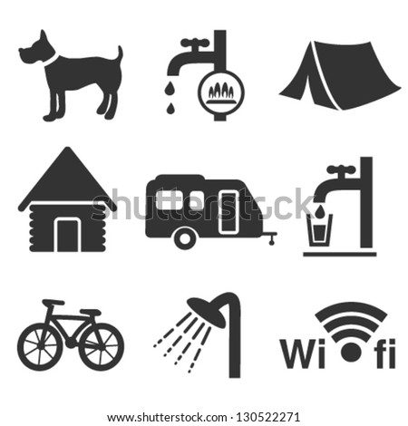 Vector camping icons - set 1 - stock vector