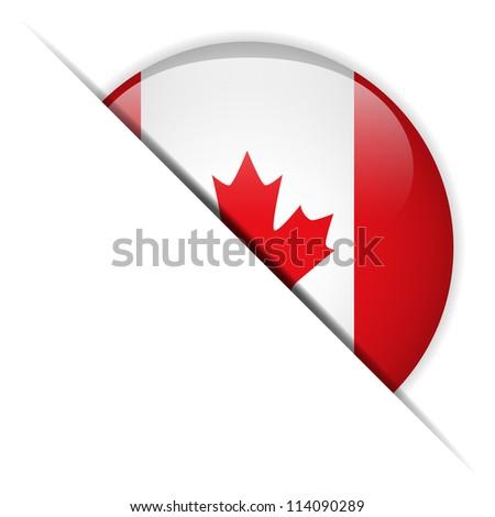 Vector - Canada Flag Glossy Button - stock vector