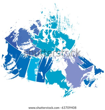 vector canadian map by artistic brush strokes - stock vector