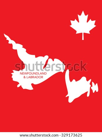 Vector Canadian Province Map - Newfoundland and Labrador - stock vector