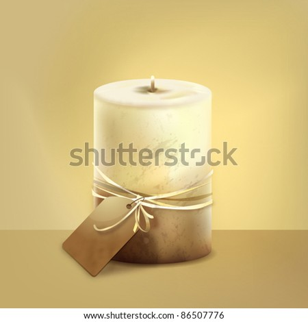 Vector candle with a label. - stock vector