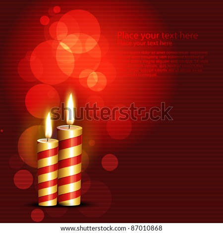 vector candles on red background
