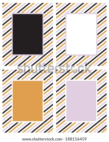 Vector Candy Strip Frame and Invitation Template Set - stock vector
