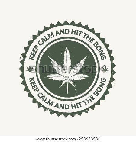 Vector cannabis grunge emblem. - stock vector