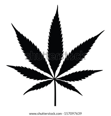 Vector cannabis leaf silhouette on white background. Marijuana. - stock vector