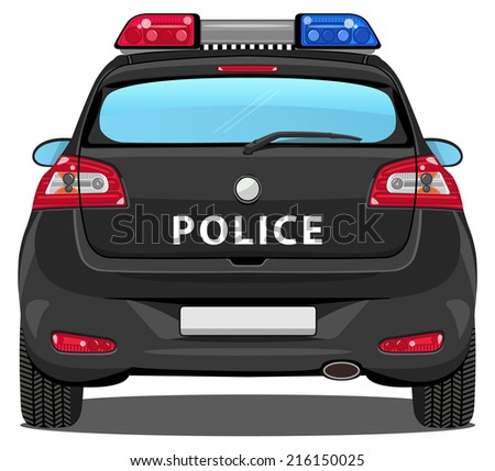 vector car - back view | police car - without visible interior - stock vector