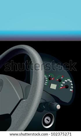 Vector car dashboard, steering wheel - stock vector