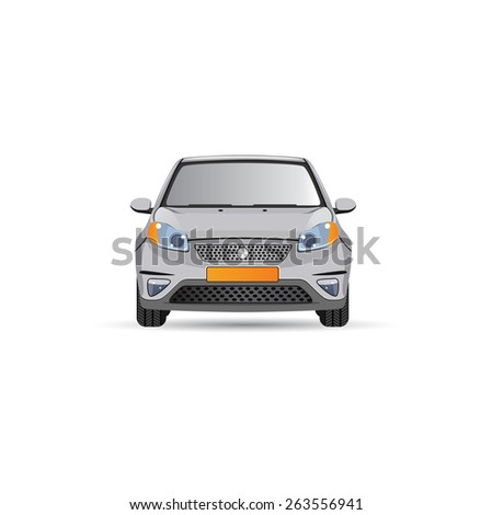 Vector car. Flat design. Headlights and yellow license plate - stock vector