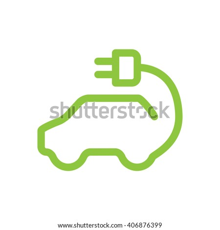 Vector car icon in thin line style. Hybrid Vehicles logo. Green car logotype. Vector symbol of electric powered car. Eco friendly car or electric car concept on white background. Electric car icon  - stock vector