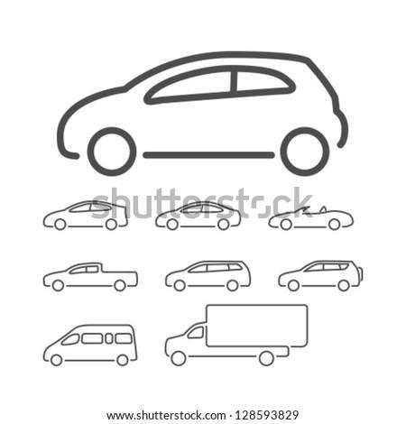 Vector Car Icon Set - stock vector