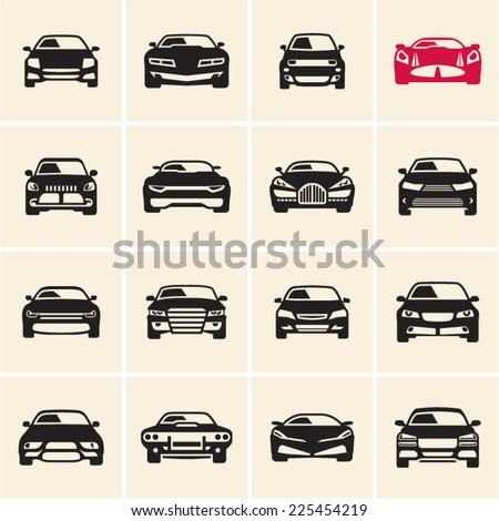 vector car icons front view - stock vector