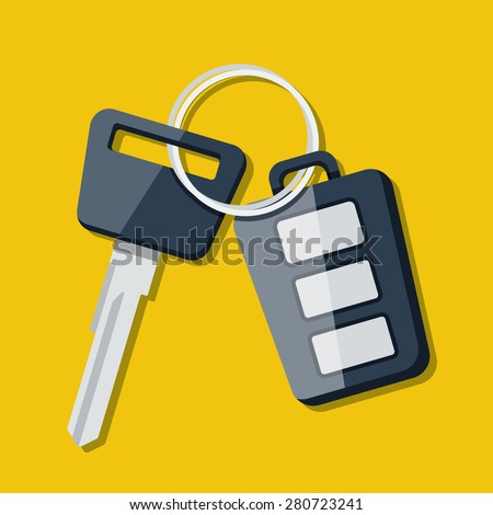 Vector Car Key and charm of the alarm system.  - stock vector
