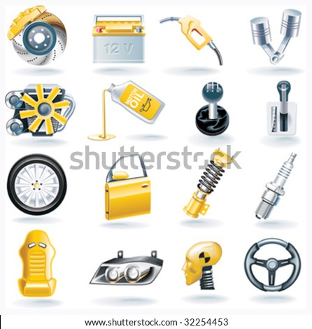 Vector car parts icon set - stock vector