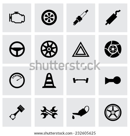 Vector car parts icon set on grey background - stock vector