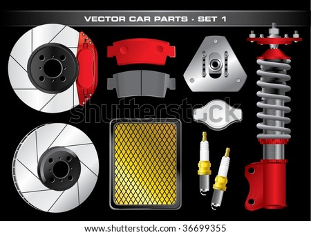Vector Car Parts-Set 1 - stock vector
