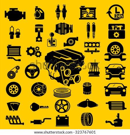 Vector car parts set icons  - stock vector