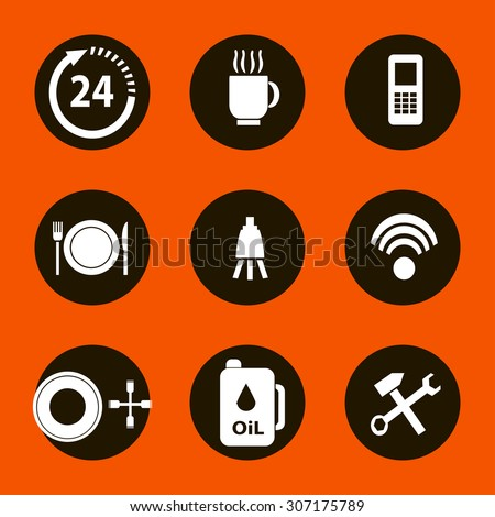 Vector car service flat icons. Vehicle maintenance and repair - stock vector