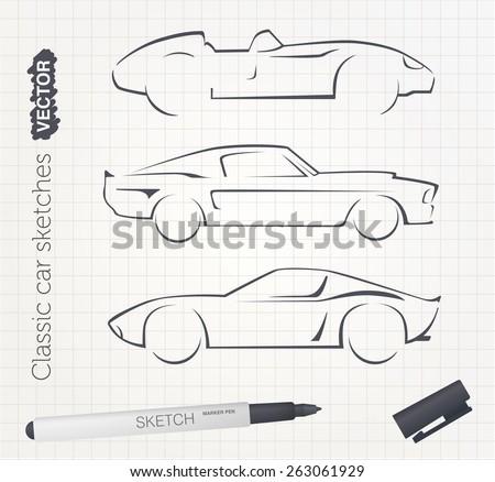 Vector car sketches - stock vector