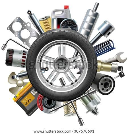Vector Car Spares Concept with Wheel - stock vector