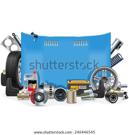 Vector Car Spares Frame - stock vector