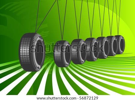 Vector car tires - stock vector