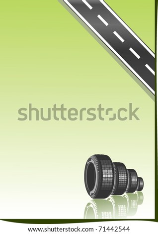 Vector car tires and place for your text. - stock vector
