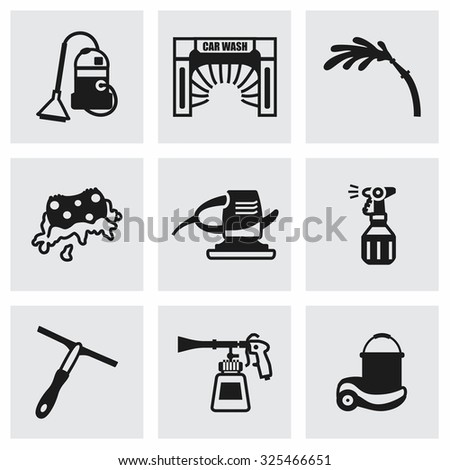 Vector Car wash icon set on grey background - stock vector