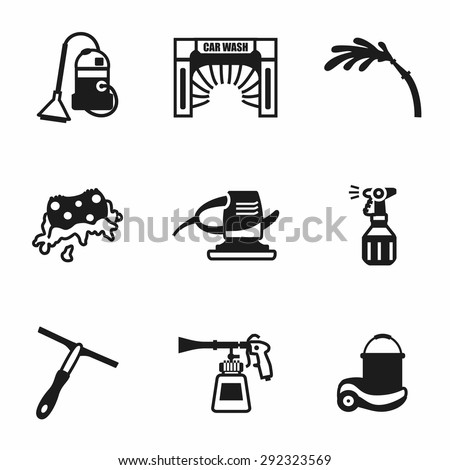 Vector Car wash icon set on white background - stock vector