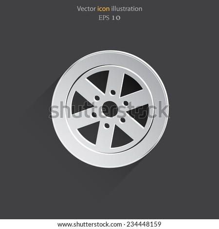 Vector car wheel flat icon. Eps 10. - stock vector